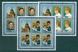 Niue 1981 Charles & Diana Wedding Surcharged 3x Sheetlet MUH Lot45133 - Niue