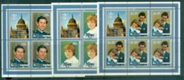Niue 1981 Royal Wedding, Charles & Diana 3x Sheetlets MUH - Niue