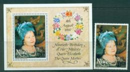 Niue 1990 Queen Mother 90th Birthday + MS MUH Lot30060 - Niue