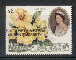 Niue 1991 Flowers Opt QEII 65th Birthday MUH - Niue