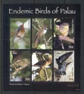 Palau 2007 Endemic Birds Of Palau MS MUH - Palau