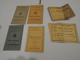 18 CARTES ELECTEURS ANCIENNES DE 1919 à 1953 (Voir Détail Dans Le Descriptif) - Décrets & Lois
