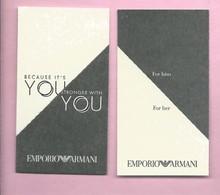 EMPORIO ARMANI * YOU  * V/R * ENGL . - Cartes Parfumées