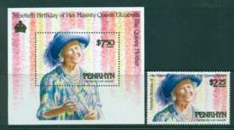 Penrhyn Is 1990 Qeueen Mother 90th Birthday + MS MUH Lot30081 - Penrhyn