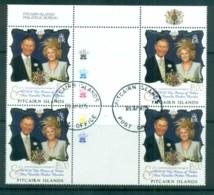 Pitcairn Is 2005 Royal Wedding, Charles & Camilla Gutter Blk 4 FDI CTO Lot80642 - Pitcairn Islands