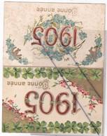Lot De 2 Cartes; Bonne Année 1905 ,cartes Gaufrées ,date -fleurs -Tréfles -fers à Chevaux (cartes Précurseurs) - New Year