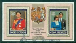Cook Is 1981 Charles & Diana Royal Wedding MS FU - Cook Islands