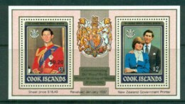Cook Is 1981 Charles & Diana Royal Wedding Opt Royal Birth Of Prince William Surcharged MS MUH - Cook Islands