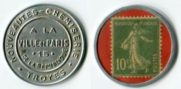 N93-0523 - Timbre-monnaie A La Ville De Paris 10 Centimes - Kapselgeld - Encased Stamp - Monetary / Of Necessity