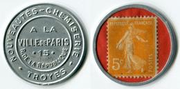 N93-0524 - Timbre-monnaie A La Ville De Paris 5 Centimes - Kapselgeld - Encased Stamp - Monetary / Of Necessity