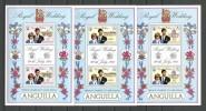 ANGUILLA 1981 N° 409/411 ** Feuillets Neufs MNH 411 Pli En Dehors Des Timbres Superbe Prince Charles Et Lady DIANA - Anguilla (1968-...)