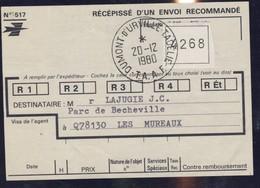 TAAF Recepisse Envoi Recommande DU 20/12/1980 - Non Classificati
