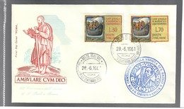ITALIA 1961 30 + 70 Lire S. Paolo A Roma Su Busta Primo Giorno Cod.bu.214 - 6. 1946-.. Repubblica