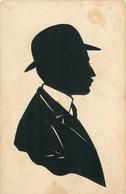 """CARTE SILHOUETTE -  - DECOUPAGE PROFIL COLLE - MADRID Vers 1910 - """"PROFIL D'HOMME AU CHAPEAU ET à La MOUSTACHE. - Silhouettes"""