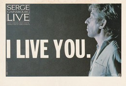 Rare Ancienne  Cp  Pop Culture Années 80  Serge Gainsbourg Live I Live You - Objets Dérivés