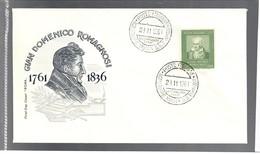 ITALIA 1961 30 Lire Romagnosi Su Busta Primo Giorno Cod.bu.217 - 6. 1946-.. Repubblica