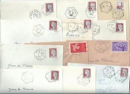 2288 12 Devants De Lettres Ob AGENCES POSTALES De 1962 à 1964 Dep 20 23 24 38 54 56 67 68 74 25c Decaris Yv 1263 - Postmark Collection (Covers)