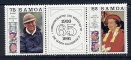 Samoa 1991 QEII & Prince Phillip Birthdays Pr + Label MUH - Samoa