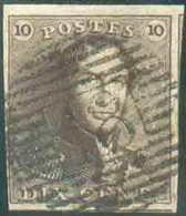 N°1 - Epaulette 10 Centimes Brune, TB Margée, Obl. P.18 BINCHE Nette Et Centrale. - Superbe - 13407 - 1849 Epaulettes