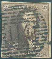 N°1 - Epaulette 10 Centimes Brune, TB Margée, Obl. P.114 TERMONDE Idéalement Apposée. - TB - 13408 - 1849 Epaulettes