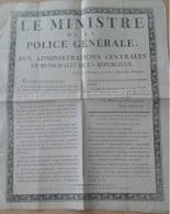 Affiche Du Ministre De La Police Générale Fouché Du 6 Frimaire An 8 De La République Française - Posters