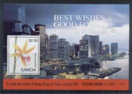 Samoa 1997 Return Of Hong Kong To China , Flower MS MUH - Samoa