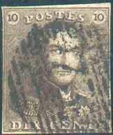 N°1 - Epaulette 10 Centimes Brune, TB Margée, Pos. 139 Avec Variété V.13 «Cadre Supérieur Reporté à Hauteur Du Front» Dé - 1849 Epaulettes