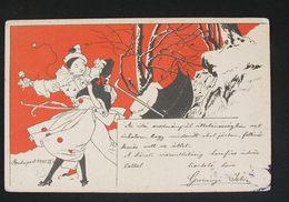 Illustrateur - M.M.Vienne Nr. 69 - Pagliaccio /Pierrot Clown Couple - Umbrella - Illustratoren & Fotografen