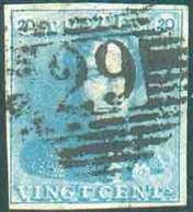 N°2c - Epaulette 20 Centimes Bleu-LAITEUX, Tb Margée, Obl. P.29 COURTRAY Idéalement Apposée. - Superbe  - 13411 - 1849 Epaulettes