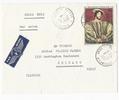 N°1518 Sur Enveloppe De Plesse Vers Chicago états Unis Par Avion Du 11/9/1967 - Marcophilie (Lettres)