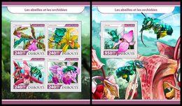 DJIBOUTI 2017 - Bees And Orchids - YT 1592-5 + BF206; CV=40 € - Honingbijen