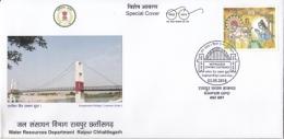 India  2018  Bridges  Suspension Bridge  Water Resource Department  Raipur  Special Cover   #  14776   D Inde  Indien - Bridges