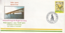 India  20103  Railway Bridge  Godavari Pushkaram  Special Cover  #  14824   D Inde Indien - Bridges