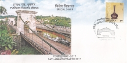India  2017  Punalur Hanging Bridge   Built By  Albert Henry  British Engineer Special Cover   #  15028   D Inde  Indien - Bridges