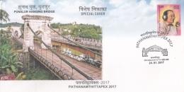India  2017  Punalur Hanging Bridge   Built By  Albert Henry  British Engineer Special Cover   #  15027   D Inde  Indien - Bridges