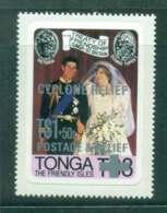 Tonga 1981 Charles & Diana Wedding Opt Cyclone Relief P&S MUH Lot45260 - Tonga (1970-...)