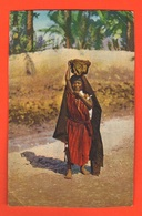 Bambina Portatrice Acqua Petite Fille Transportant L'eau Little Girl Carrying Water Old Cpa - Africa