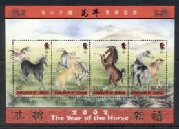 Tonga 2002 New Year Of The Horse MS MUH - Tonga (1970-...)