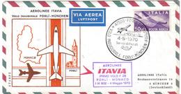 Aereolinee Itavia Primo Volo Forli-monaco 04 05 1970 Cod. C.1450 - 6. 1946-.. Repubblica