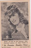 DANIELLE DARRIEUX-UFA-FILM-LE PREMIER RENDEZ-VOUS-BELGIQUE-LEUVEN-CINE-EDEN-1942-GUERRE-LOOK AT 2 SCANS-TOP! - Acteurs