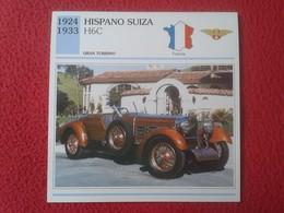 FICHA TÉCNICA DATA TECNICAL SHEET FICHE TECHNIQUE AUTO COCHE CAR VOITURE 1924 1933 HISPANO SUIZA H6C FRANCIA FRANCE CARS - Coches