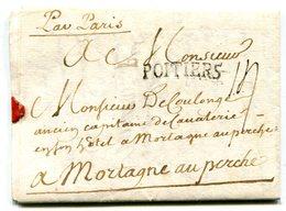 """VIENNE De MONTREUIL BONNIN LAC  3 Pages Du 05/05/1762 Marque Lenain N°5 De POITIERS Taxe De 14 Mention"""" Par Paris"""" - Postmark Collection (Covers)"""