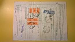 1983 BOLLETTINO PACCHI POSTALI DA ESTERO CIPRO NICOSIA AEREO 800,1000, LIRE CAVALLINO - Pacchi Postali