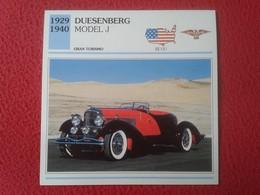 FICHA TÉCNICA DATA TECNICAL SHEET FICHE TECHNIQUE AUTO COCHE CAR VOITURE 1929 1940 DUESENBERG MODEL J USA UNITED STATES - Coches