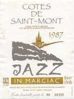 Etiket Etiquette - Vin - Wijn - Cotes De Saint Mont - Jazz In Marciac 1987 - Etiquettes