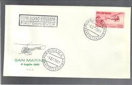 San Marino 1961 Busta Primo Giorno Elicottero P.A. N°138 Cod.busta.231 - San Marino