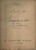 LAGNY SUR MARNE 1912 ACTE PROROGATION DE DELAI THÉVIOT 32 PAGES : - Manuscrits