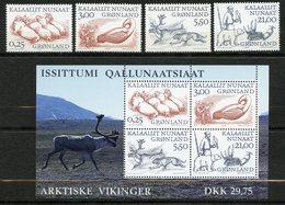 Groenland, Yvert 326/329+BF18, Scott 358/361+361a, MNH - Neufs