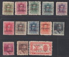 Andorre (Espagnole) 1928 -  Lot Of 13 Timbres. Mi Nr.: 1/12 + Express Specimen A000,000 Ref. (DE) DC-MV-347 - Spanisch Andorra