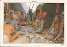 SADHUS DISCUSSUIG RELIGIOUS TALKES.  (scan Verso) - India